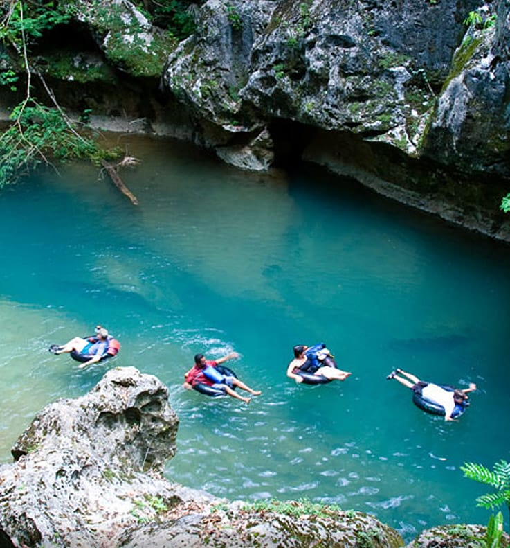 Floating through caves in Belize