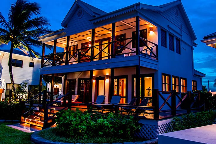 Exterior of Casa Del Sol at night at Victoria House Resort and Spa, Belize