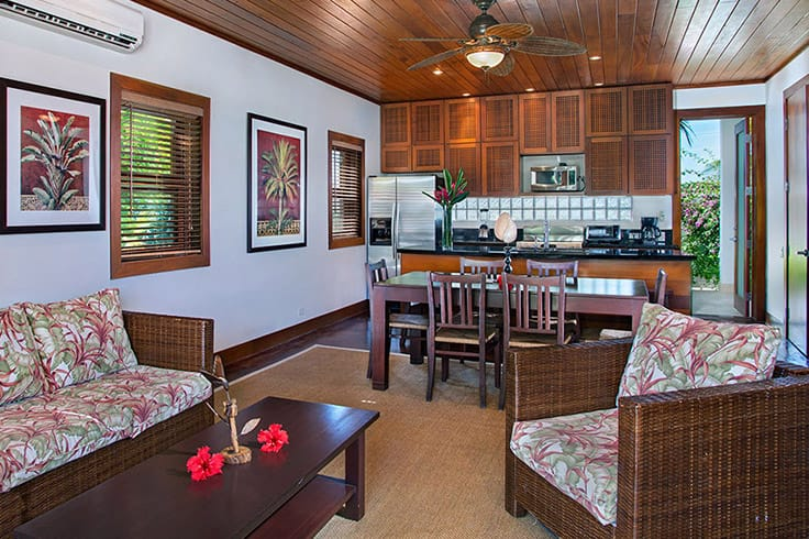 Infinity Suite living room and kitchen at Victoria House Resort and Spa, Belize