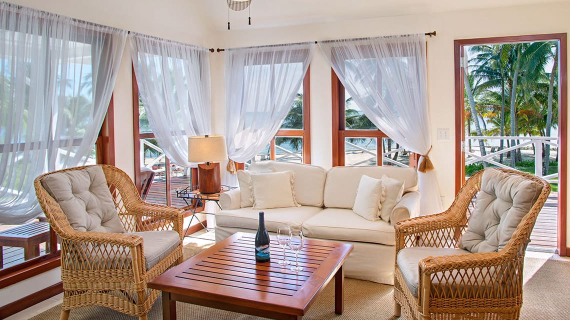 Plantation suite living room at Victoria House Resort and Spa, Belize