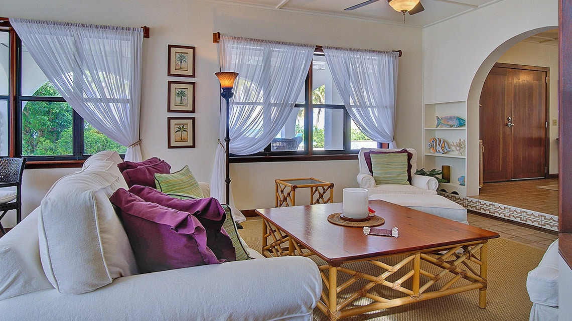 Living area of Casa Azul at Victoria House Resort and Spa, Belize