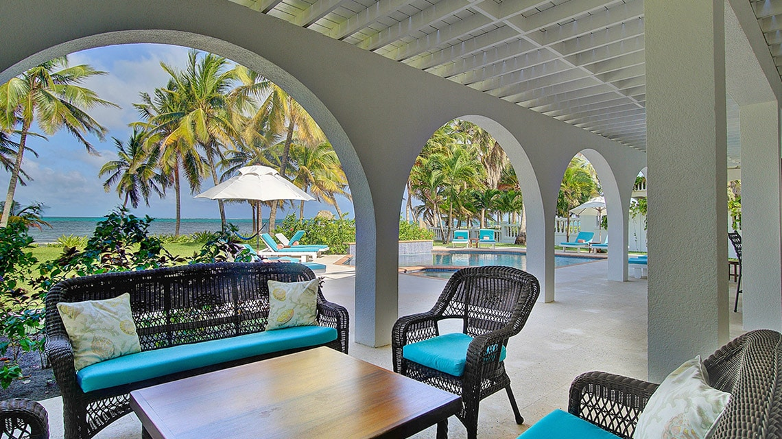 Outdoor patio in Casa Azul at Victoria House Resort and Spa, Belize
