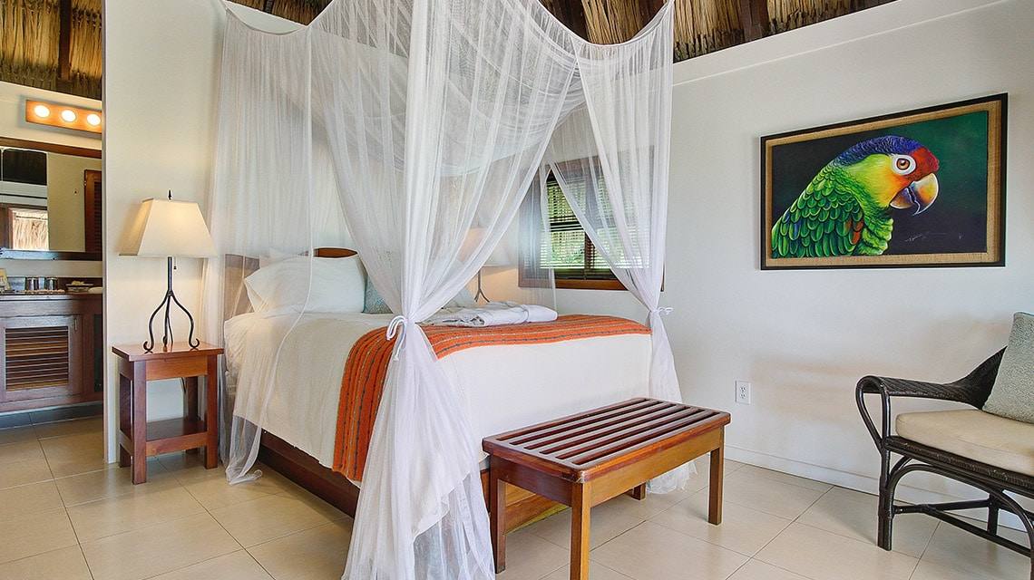 Casita bedroom at Victoria House Resort and Spa, Belize