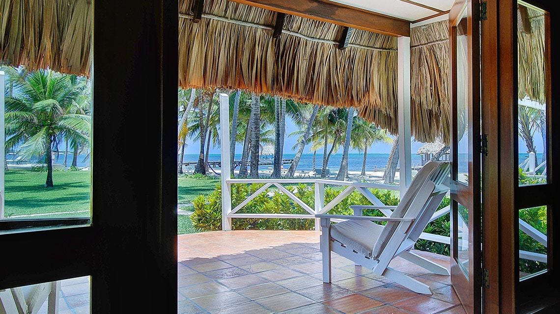 View out of the front doors of a casita at Victoria House Resort and Spa, Belize