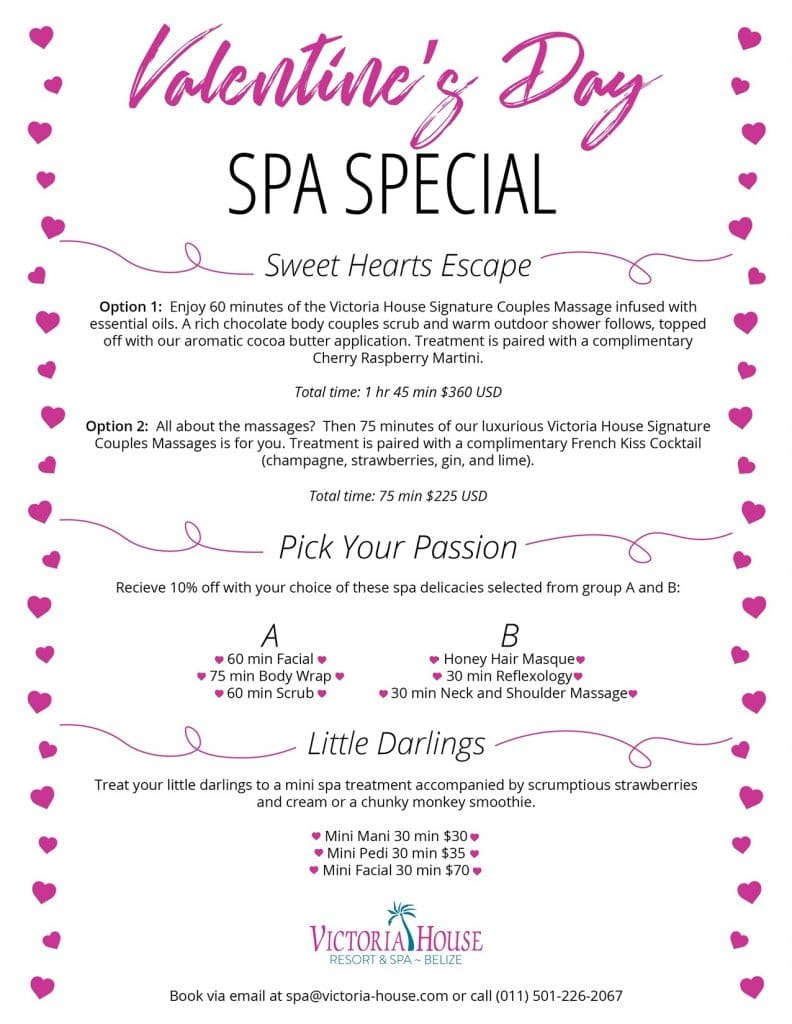 Description of spa package available for Valentine's Day at Victoria House Resort