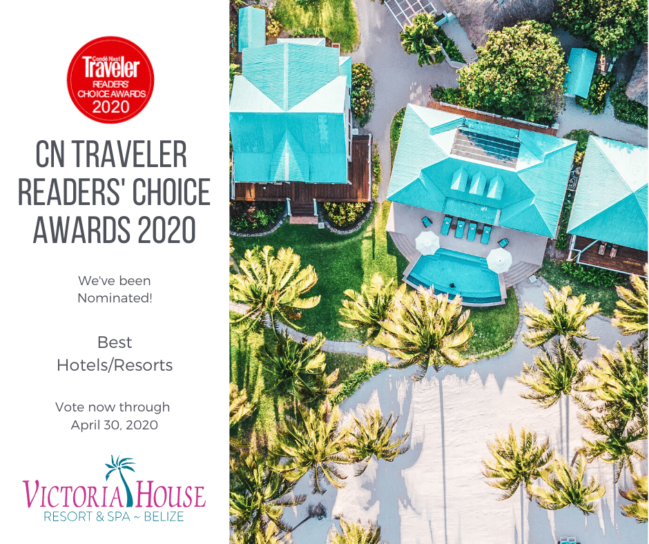 Aerial photo of Victoria House Resort with text about CN Traveler Readers' Choice Awards for 2020