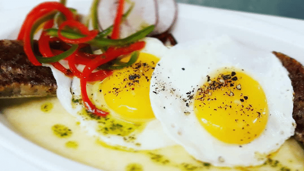 Photo of eggs and polenta from Victoria House Resort and Spa in Belize