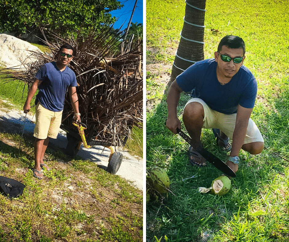 Luis Vasquez working on landscaping at Victoria House Resort in Belize