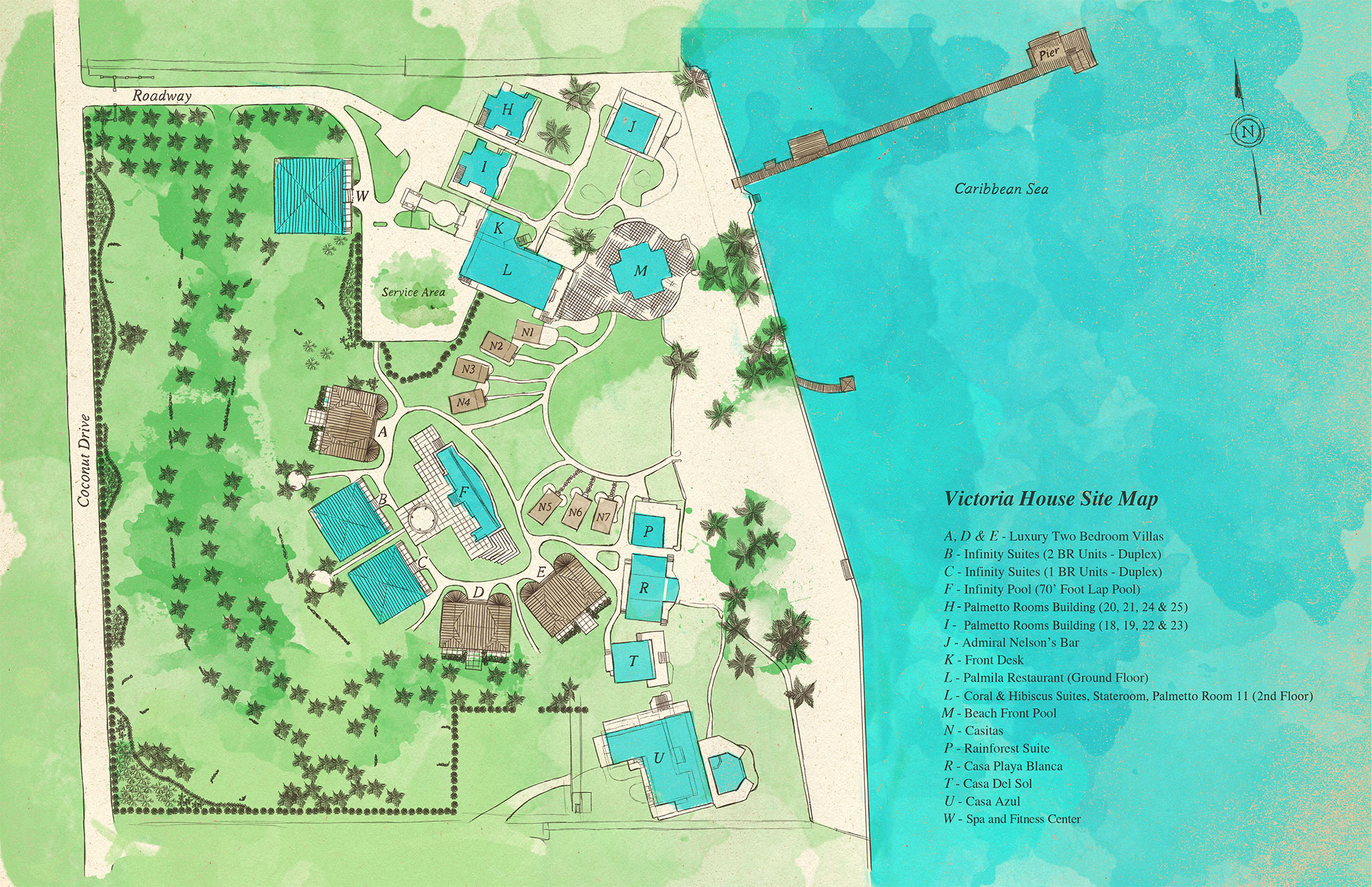 Victoria House Resort & Spa property site map