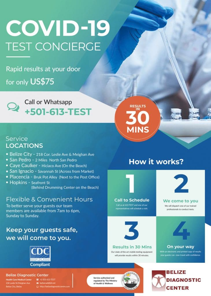 Infographic discussing Belize Government's roll out of widespread COVID-19 testing for travelers returning to the US and Canada