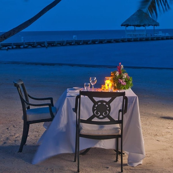 Candlelight dinner on the beach in Belize
