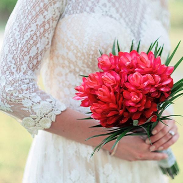 Tropical flower bouquet at Belize wedding