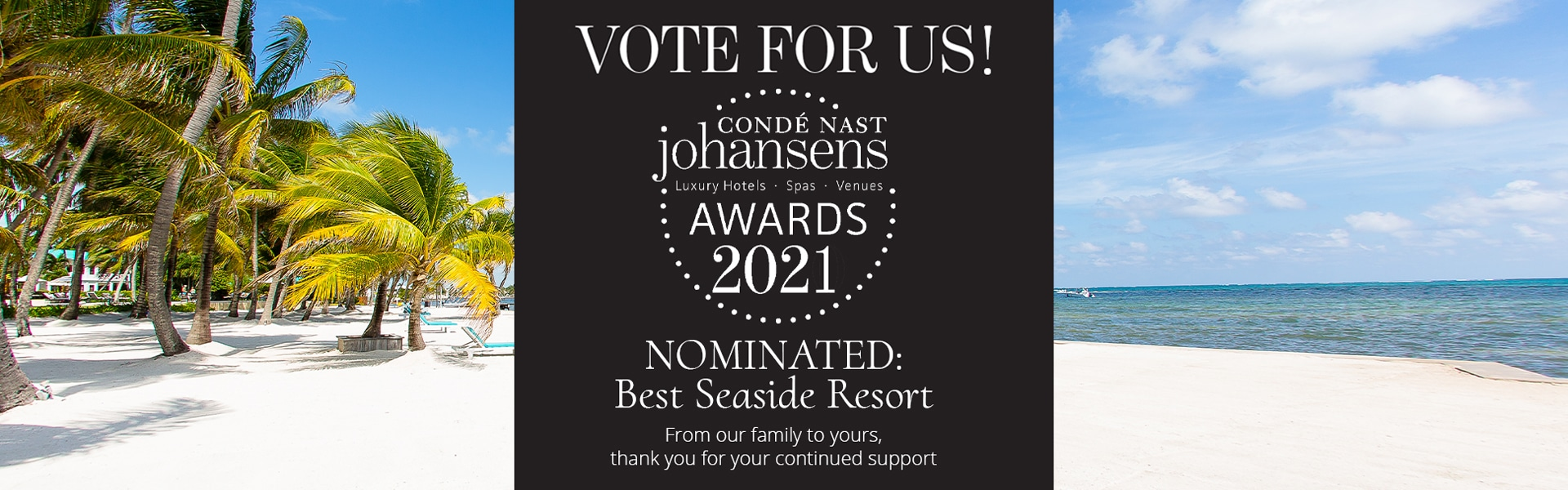 Conde Nast Johansen's vote for us square with beach in Belize in background