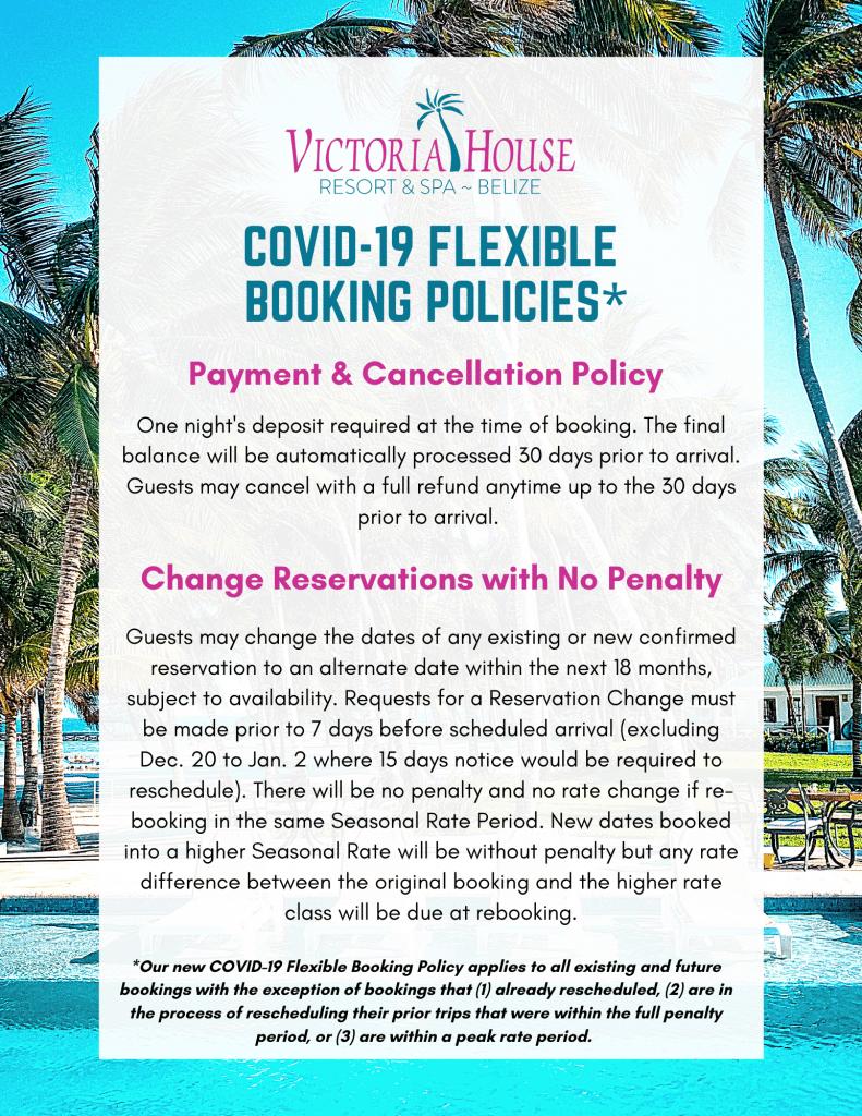 photo describing Victoria House COVID19 booking policies, updated Nov 2020
