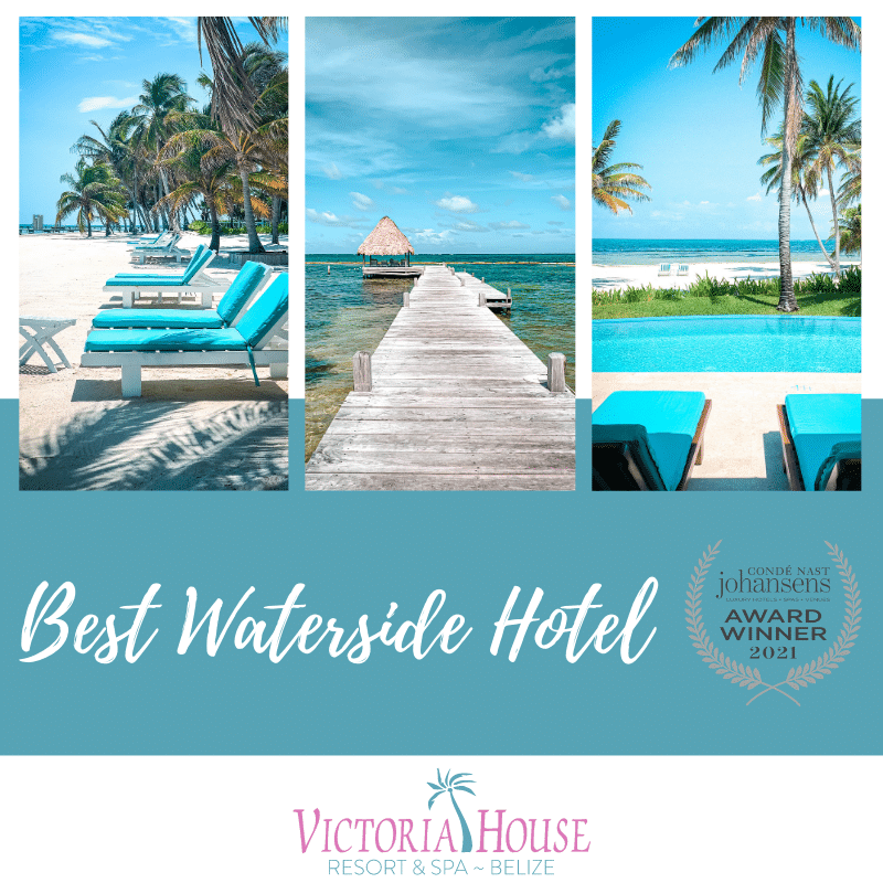 Graphic with Best Waterside Hotel and Conde Nast Johansens Awards for Excellence Winner Logo and photos of Victoria House Resort Beach